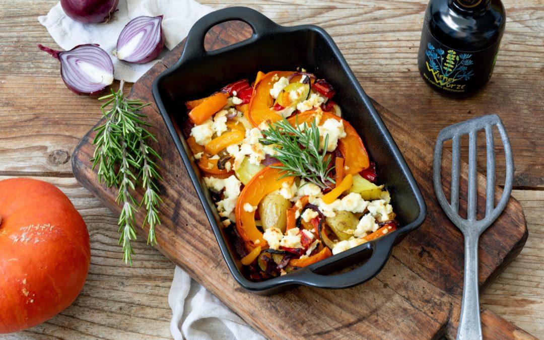 Ofenkürbis mit Feta und Gemüse